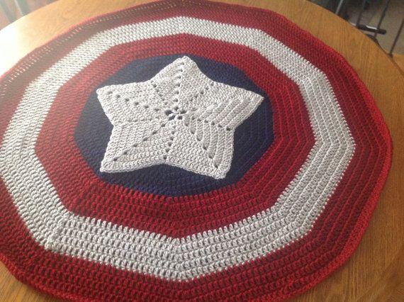 Super Hero Blanket - Fans of Captain America Star Shield Afghan on ...