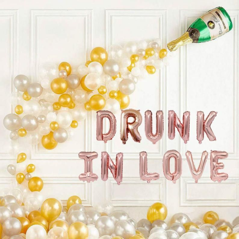 DRUNK IN LOVE with Champagne Balloon Decor,Engagement Party Decorations,Pop the Bubbly,Brunch and Bubbly Bridal Shower Decor