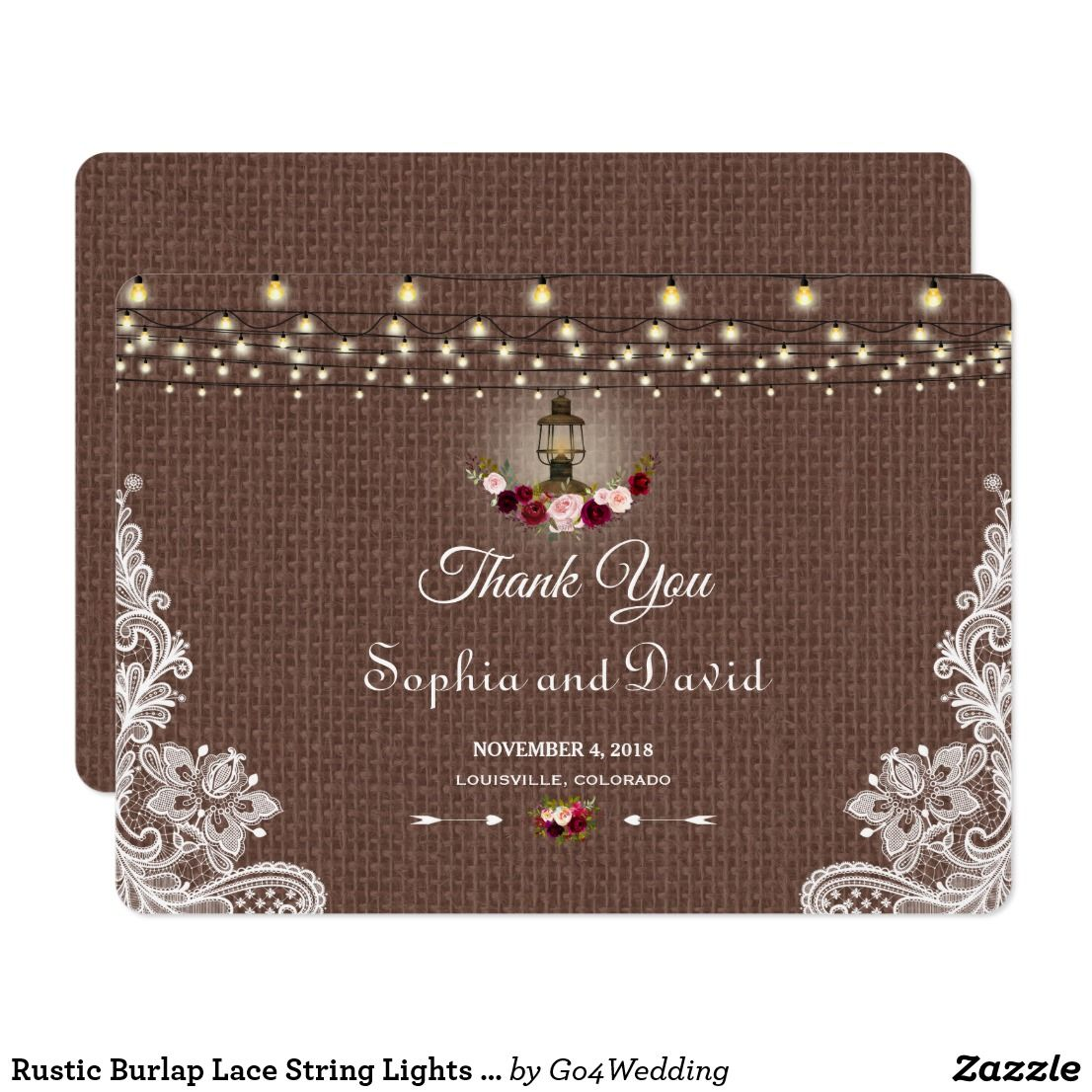 Rustic burlap lace string lights wedding thank you card