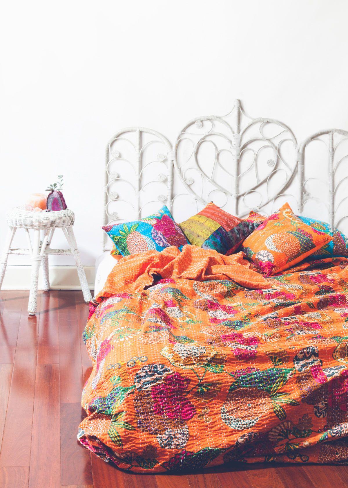 Boho Quilts Bedding   Kantha Blankets Bedspreads Royal Furnish