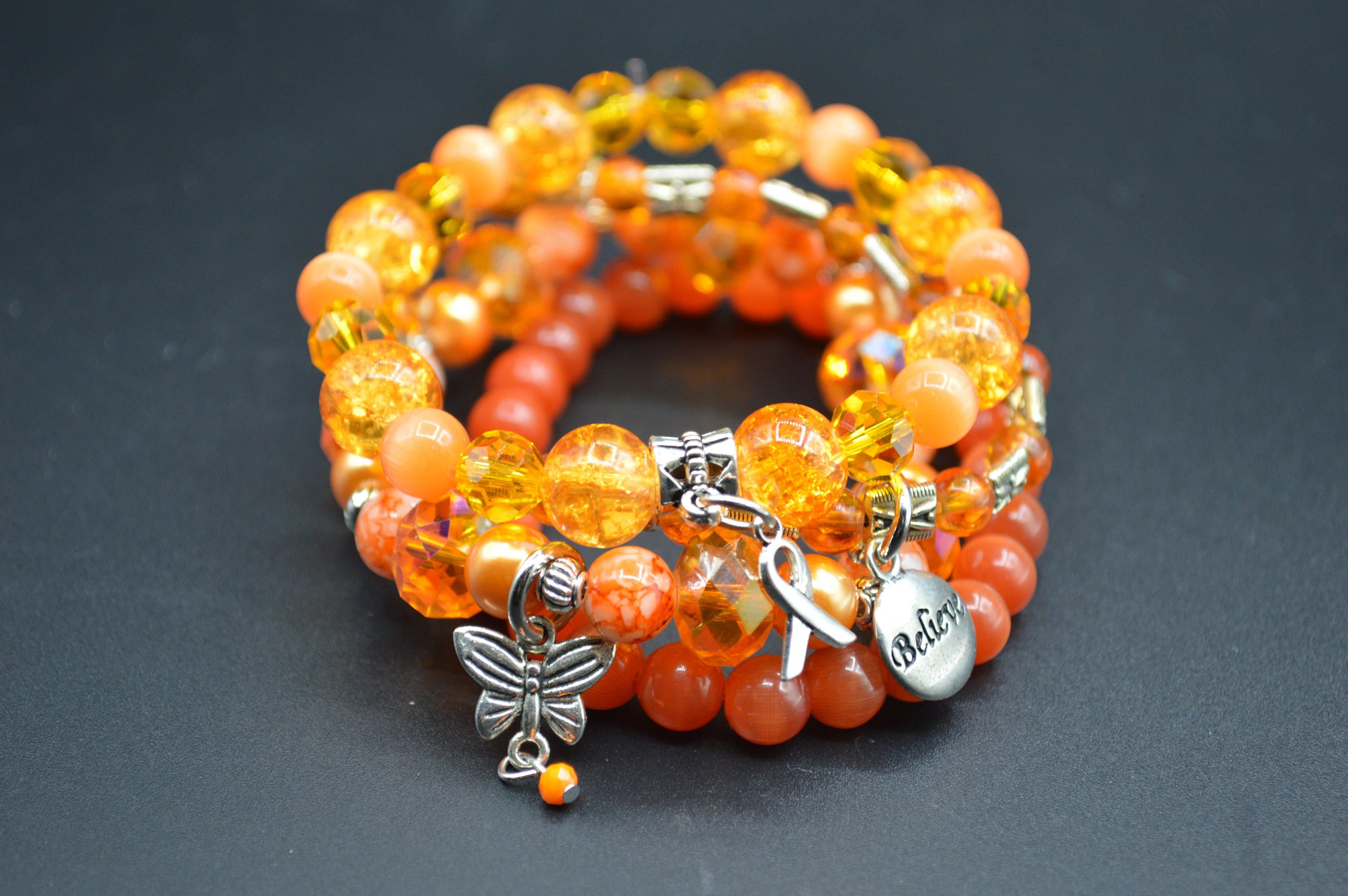 gemstone ribbon products img warriors awareness bracelet butterfly leukemia hope bracelets orange