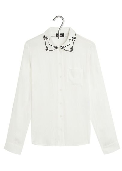 a5d4b5f15326 Chemise col chat Blanc by KOOKAI   Ideas for my closet en 2019 ...