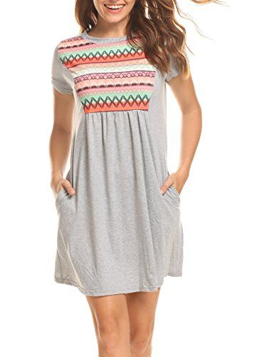 4eda882ced12 Kissvivi Plus Size Summer Dress Loose Short Sleeve Pink Grey Dress S ...