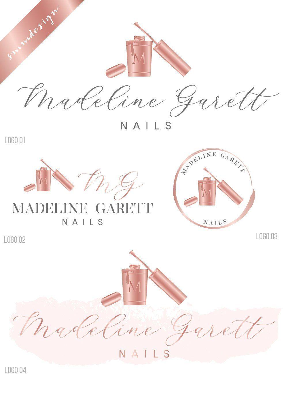 Nail polish logo design, nail logo, pointy nail logo, nail