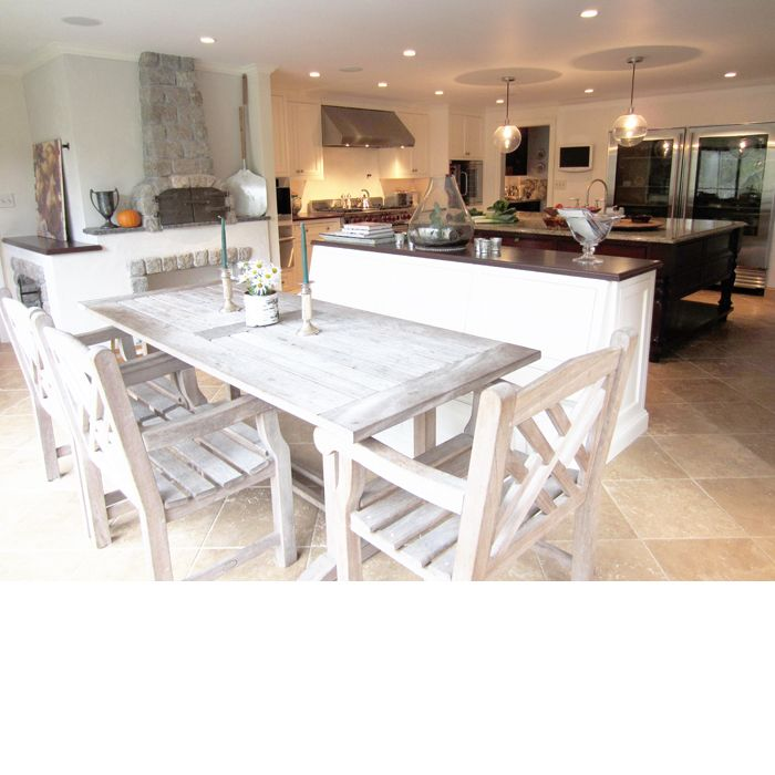 Rustic Table With Built-in Bench Seating