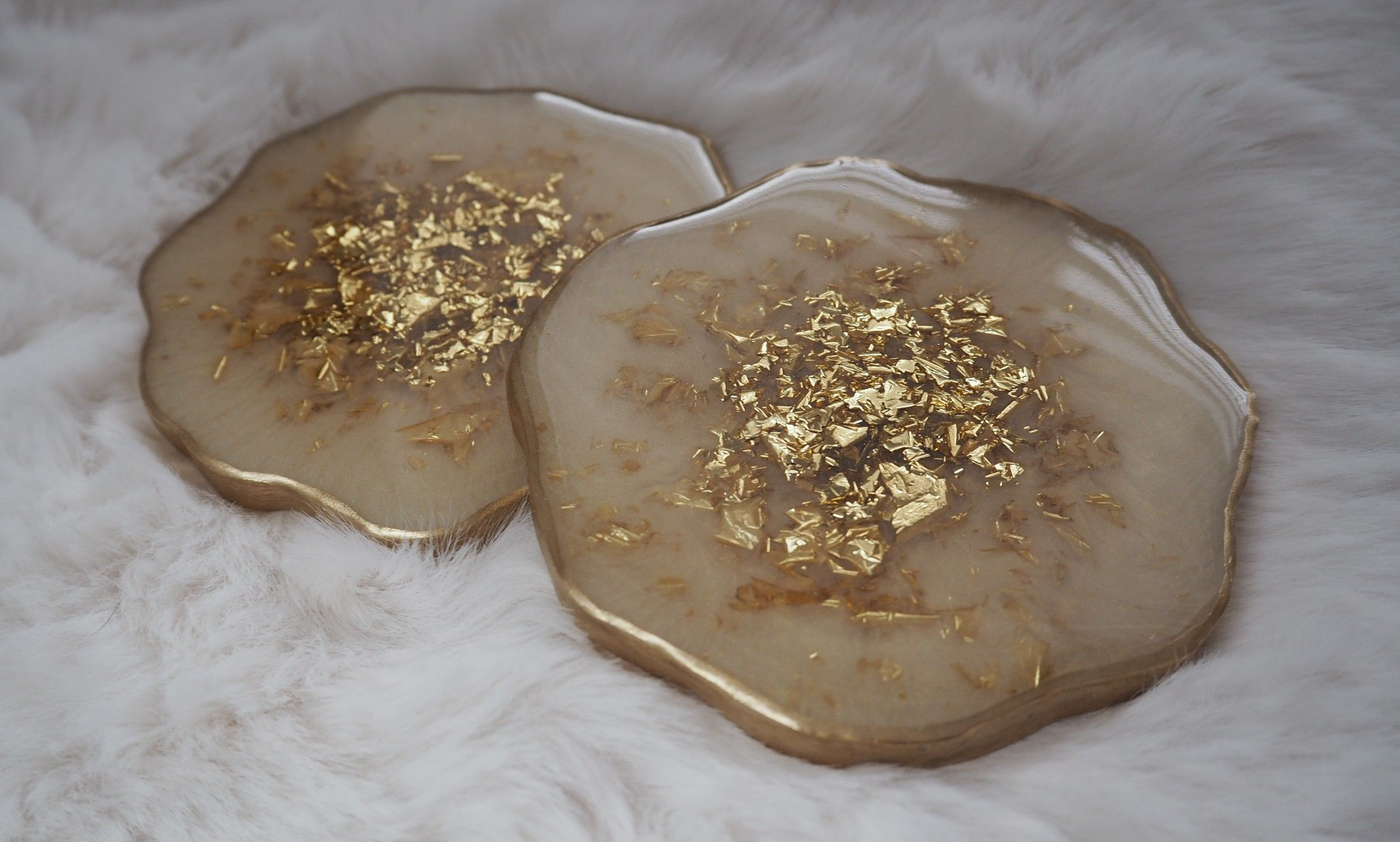 gold flake beach inspired coaster