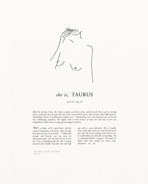 Sunday Lane Taurus Print | Zodiac | Taurus, Taurus logo