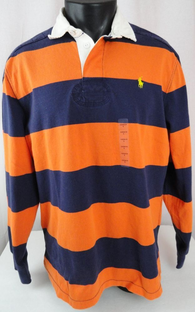 c9867e12354 NWT Polo Ralph Lauren Mens L Rugby Shirt Blue Orange Striped Custom Fit  Pony LS #PoloRalphLauren #Rugby