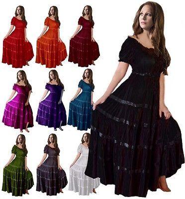 Mexican Peasant Maxi Dress Women Fashion Plus Sizes