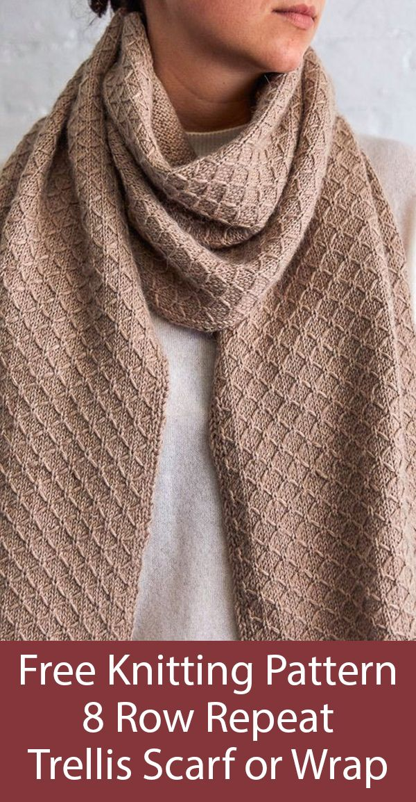 Free Knitting Pattern for Easy 8 Row Repeat Trellis Scarf or Wrap