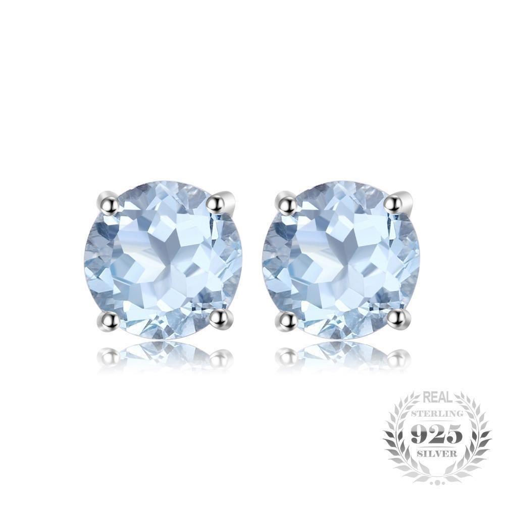 2 ct Natural Sky Blue Topaz Stud Earrings 925 Sterling