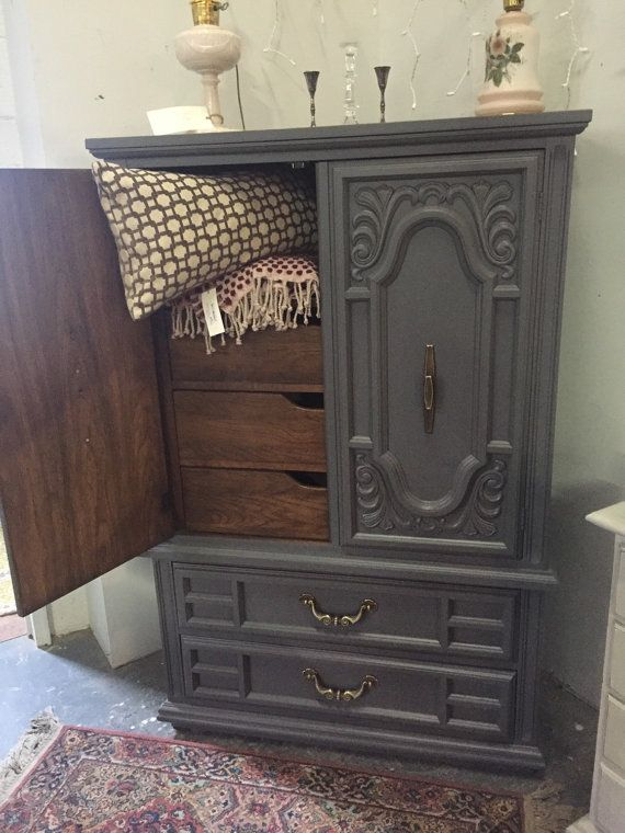 Hand Painted Armoire In Gray By StylishPatina On Etsy