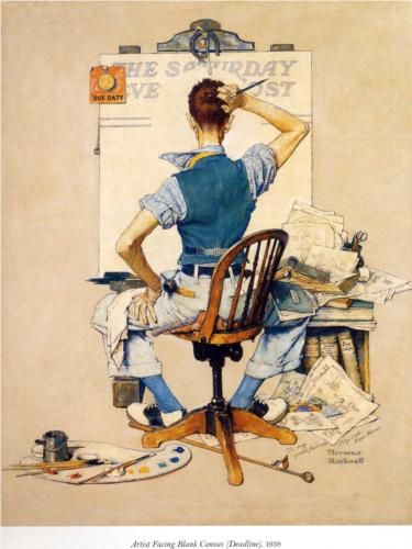 Artist Facing Blank Canvas - Norman Rockwell.