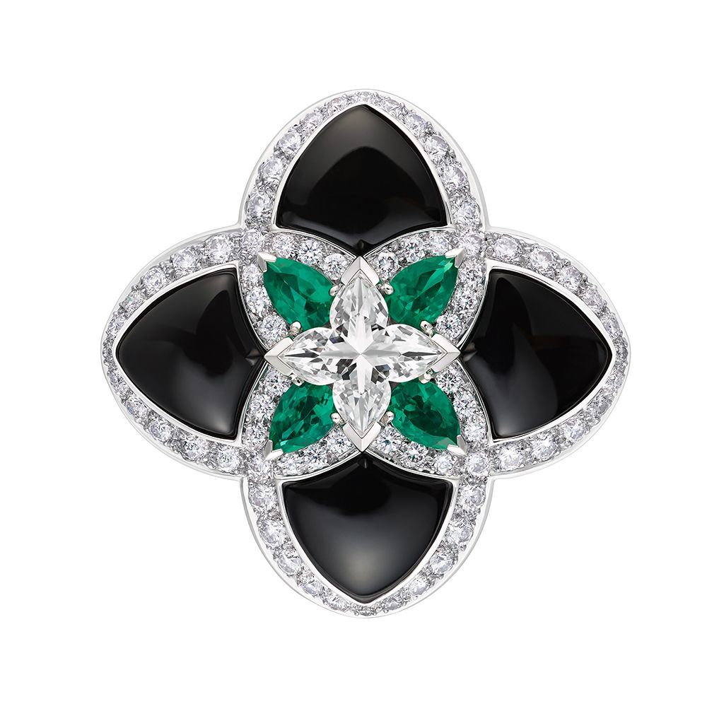 9eb5d2efbb7f Onyx and emeralds with diamond accents interpret the Louis Vuitton flower  in a precious