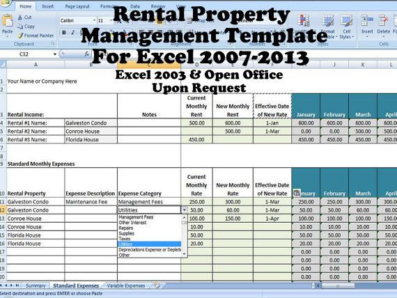 Rental Property Management Template Long Term Rentals Rental - vacation tracking template