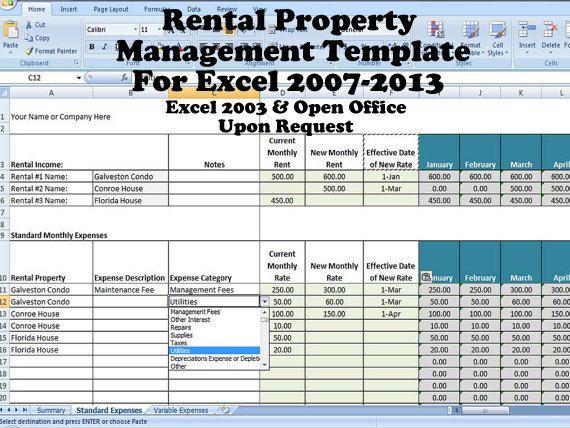 Rental Property Management Template Long Term Rentals Rental