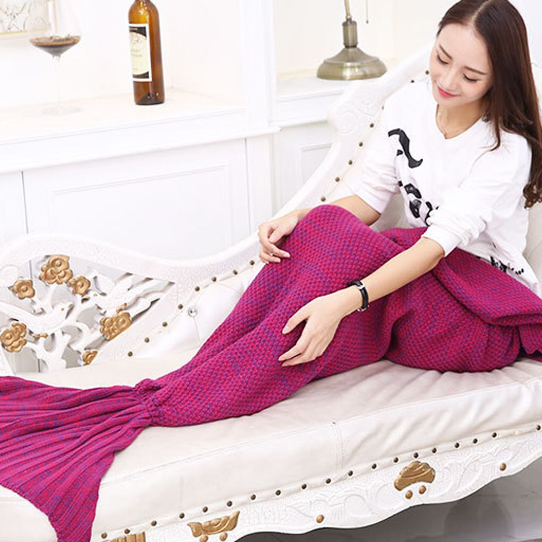 Super Soft Sleeping Bed Yarn Knitted Mermaid Tail Blanket Handmade Plaid Crochet Anti-Pilling Portable Blanket For Autum