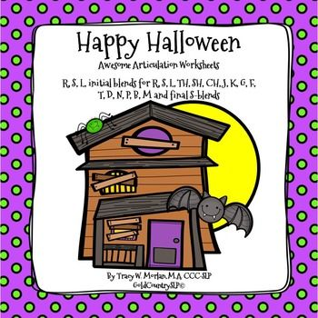 Trick Or Treat Awesome Articulation Worksheets 720 Words Articulation Worksheets Speech Therapy Materials School Speech Therapy