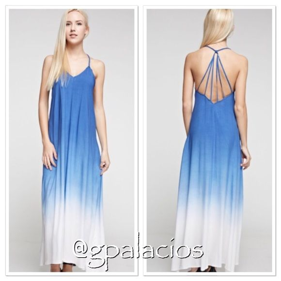 "Blue Dip Dyed Maxi|MEDIUM 100% Viscose.  Cute strappy back. 54.4"" length and 19"" across chest (Small). Limited Availability. Braided strap at shoulders. Light and airy material.  Perfect for spring and summer. Tea n Cup Dresses Maxi"