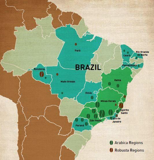 coffee #map Brazil - Cofi-Com | Coffee roasting, Coffee world, Ganoderma coffee
