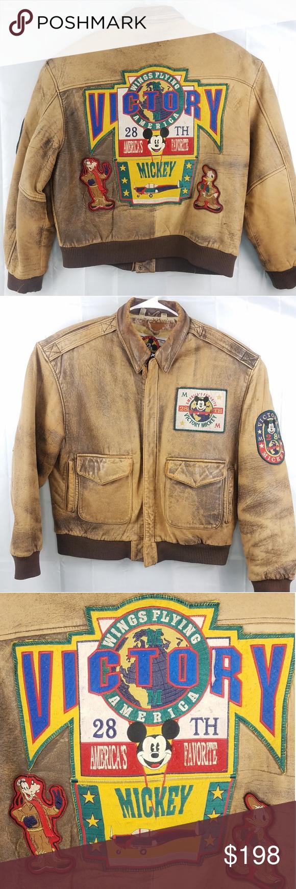 Victory Mickey Mouse Aviator Bomber Jacket Coat Jackets Bomber Jacket Disney Jacket [ 1740 x 580 Pixel ]