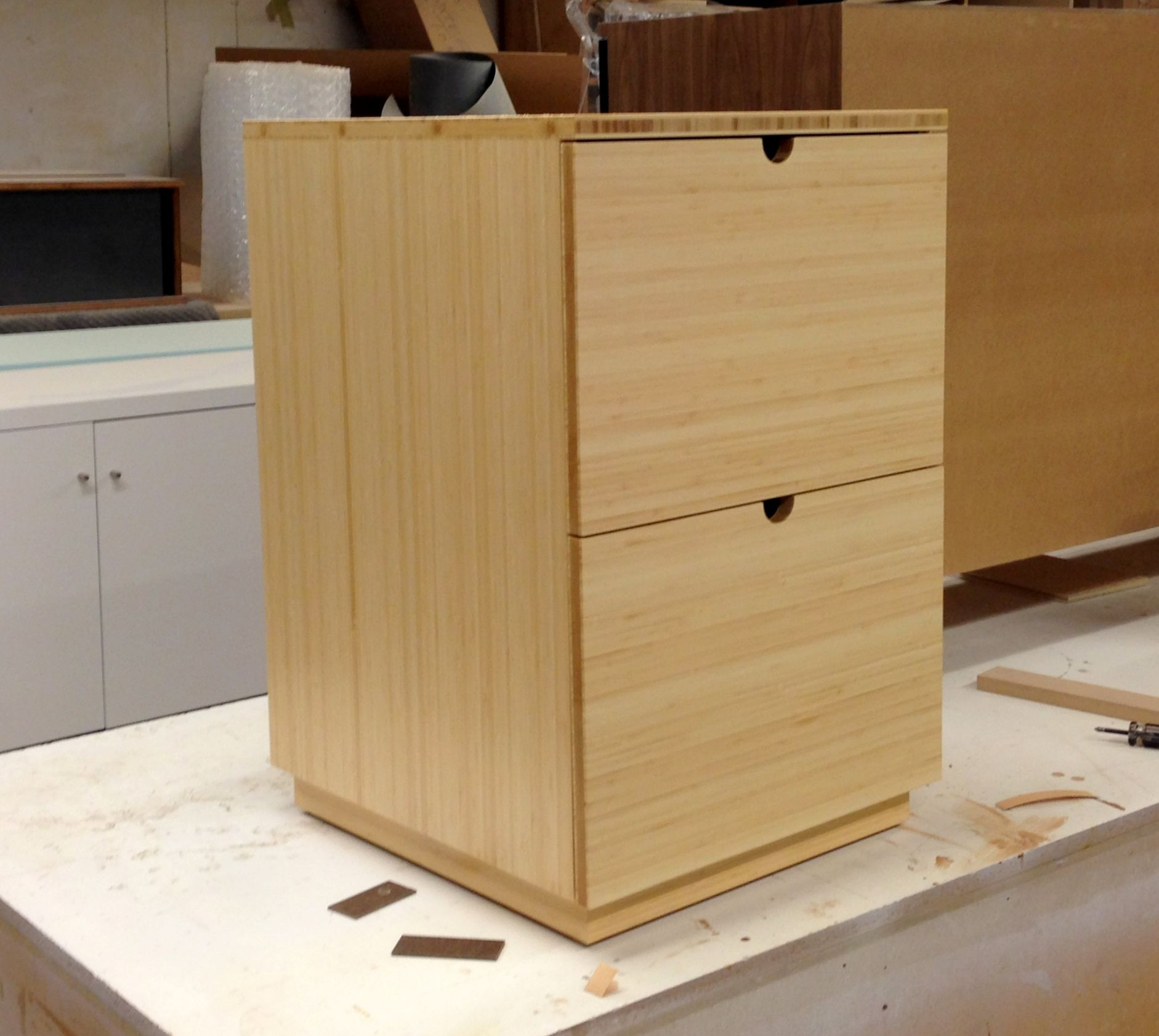 CUSTOM MARCY legal filing cabinet / end table in natural bamboo with ...