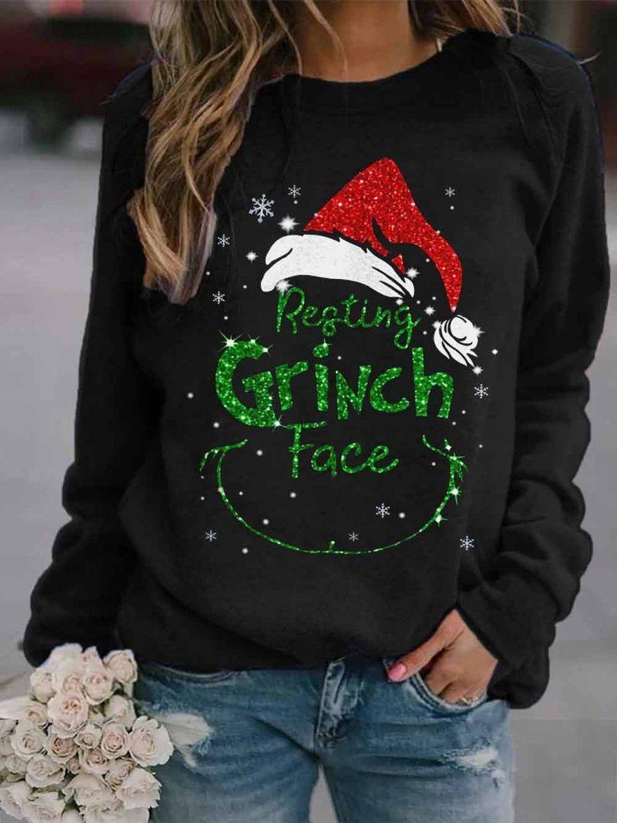Women Christmas Grinch Face Sweatshirt Color Block