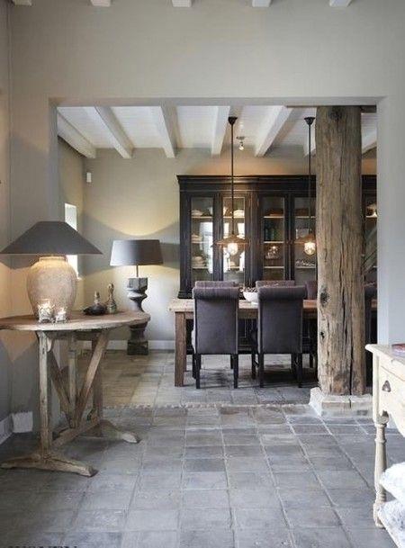 Kleur kast balken plafond in woonkeuken woonkamer for Kleuren woonkamer landelijk