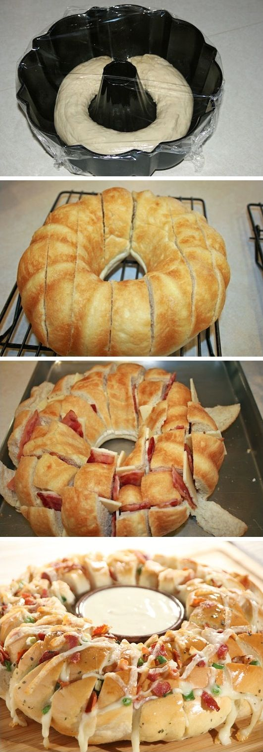 Party loaf made with Rhodes Bread. Easy and SO yummy!