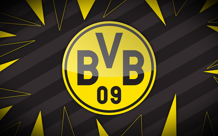 Download Wallpapers BVB, 4k, Football Club, Soccer, Borussia Dortmund, Logo