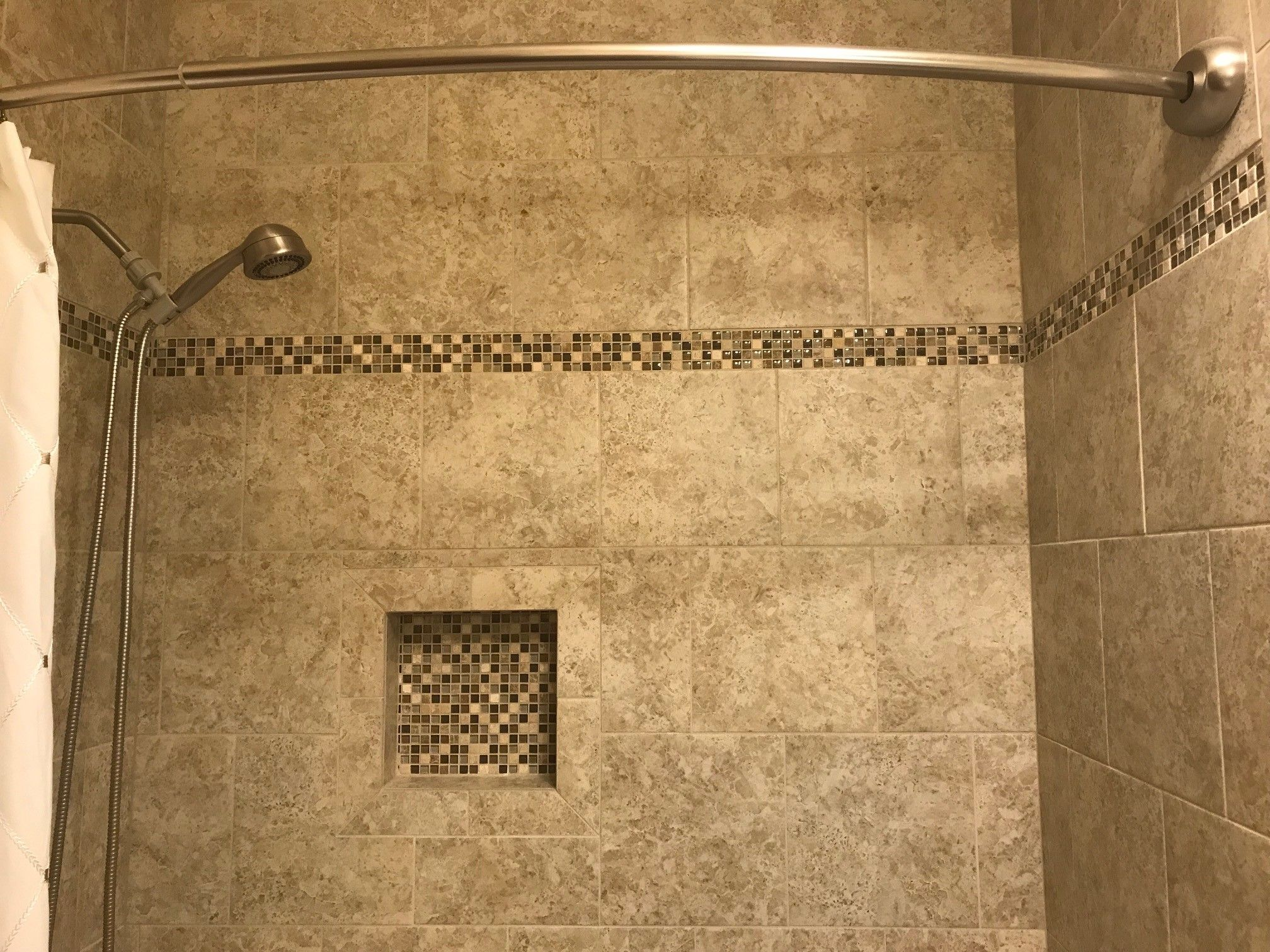 Installation by: Adam Lapp. Wall tile is Marquis Beige Breccia 12x12 ...