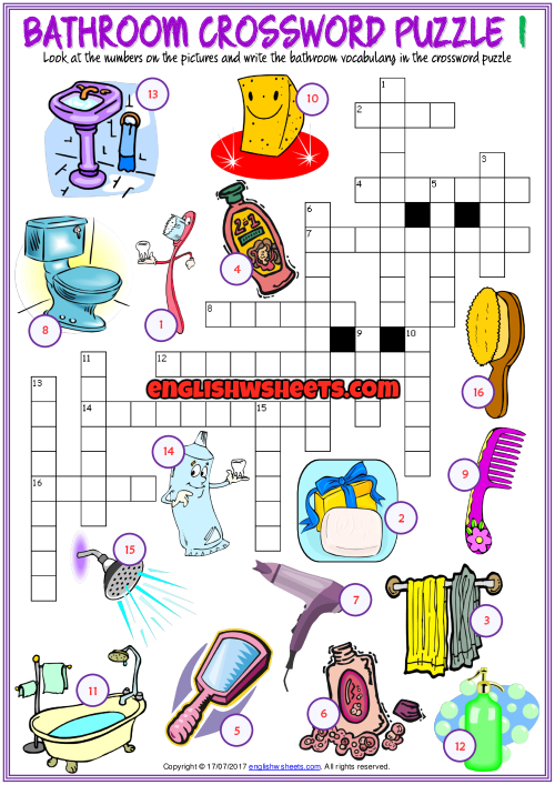 Bathroom Crossword Puzzle Esl Printable Worksheets Esl Vocabulary Vocabulary Exercises Worksheets