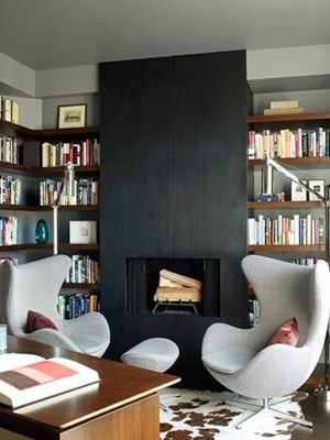 Egg Chairs In Front Of The Slate? Fireplace
