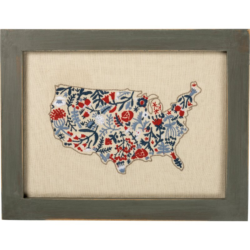 Outline For Accent Wall: Stitched Red, White And Blue Floral Map Framed Wall Decor