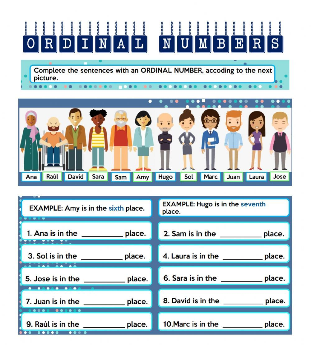 Ordinal Numbers Interactive Worksheet Ordinal Numbers Number Activities Grammar Exercises