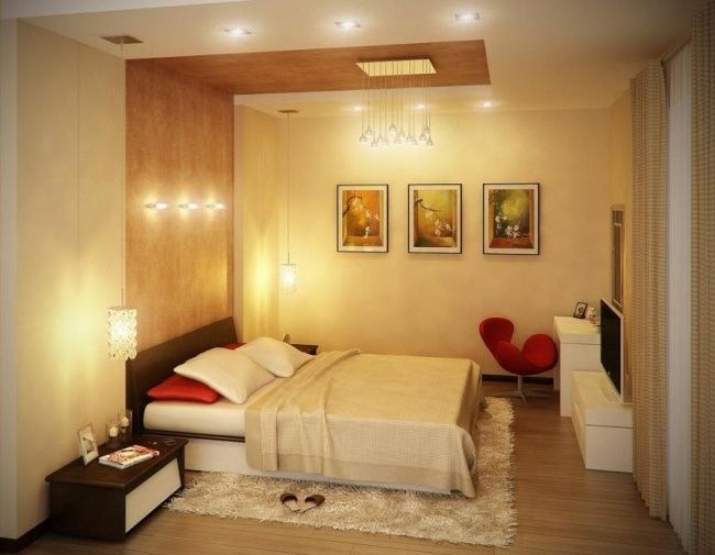 wandgestaltung ideen schlafzimmer holz wand decke einbauleuchten ...