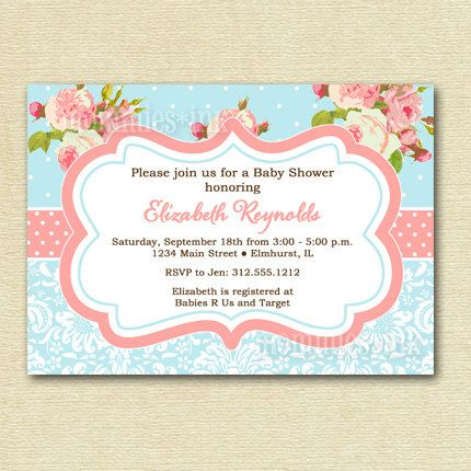 shabby chic pink roses and light blue polka dots baby shower, Baby shower invitations