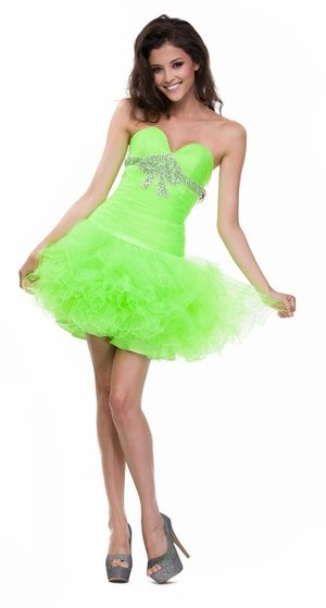 Poofy Layered Tulle Skirt Lime Green Party Dress Strapless Bow Shape ...