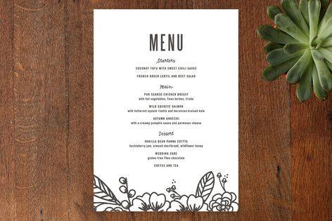 Modern Botanicals Menu Cards by Natalie Nakai at minted - wedding menu