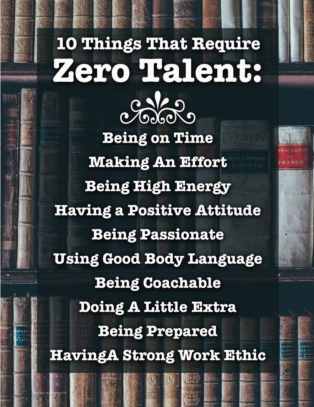 graphic relating to 10 Things That Require Zero Talent Printable named 10 Variables That Need Zero Ability, Inspirational Print