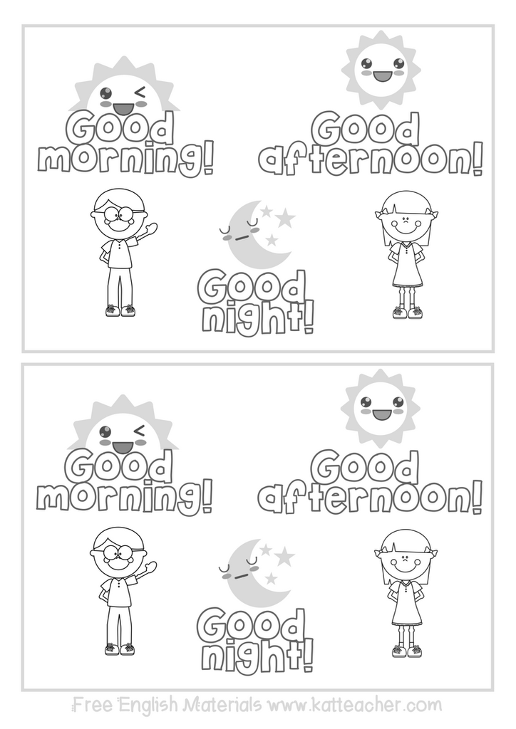 Good Morning Good Afternoon Good Night Esl English Coloring Sheet For Classroom English Lessons For Kids English Activities Kindergarten English