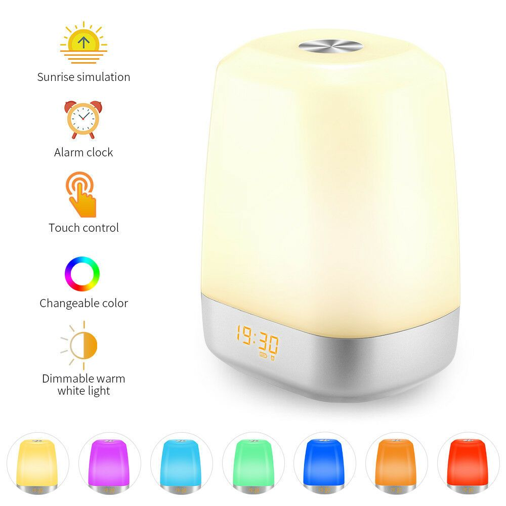 Wake Up Sunrise Alarm Clock Desk Rechargeable Bedside Led Lamps 5 Natural Sound Fashion Home Garden Homedcor Sunrise Alarm Clock Led Night Light