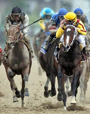 Calvin Borel jumped from his Kentucky Derby winning mount Mine That Bird to ride his regular mount, wonder filly Rachel Alexandra, but Mine That Bird and new rider Mike Smith made a powerful run at them in the 2009 Preakness.