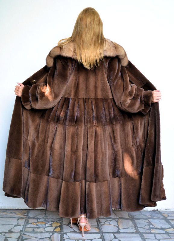 OUTLET VELVET ROYAL SAGA MINK WITH SABLE COLLAR (from behind).