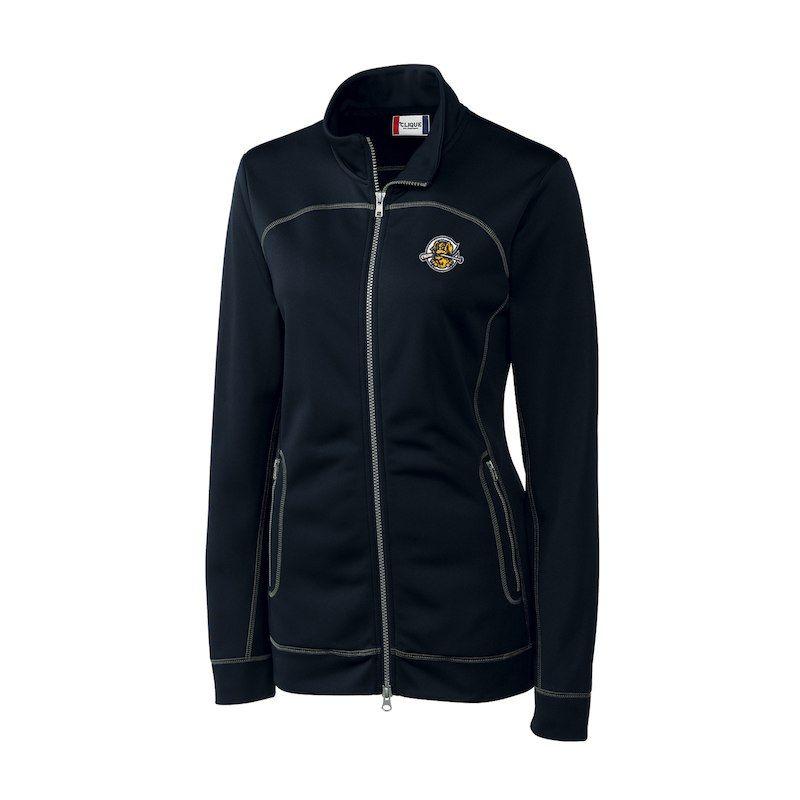 Charleston Riverdogs Cutter Buck Women S Helsa Full Zip Jacket Navy Motorcycle Style Jackets Outerwear Jackets