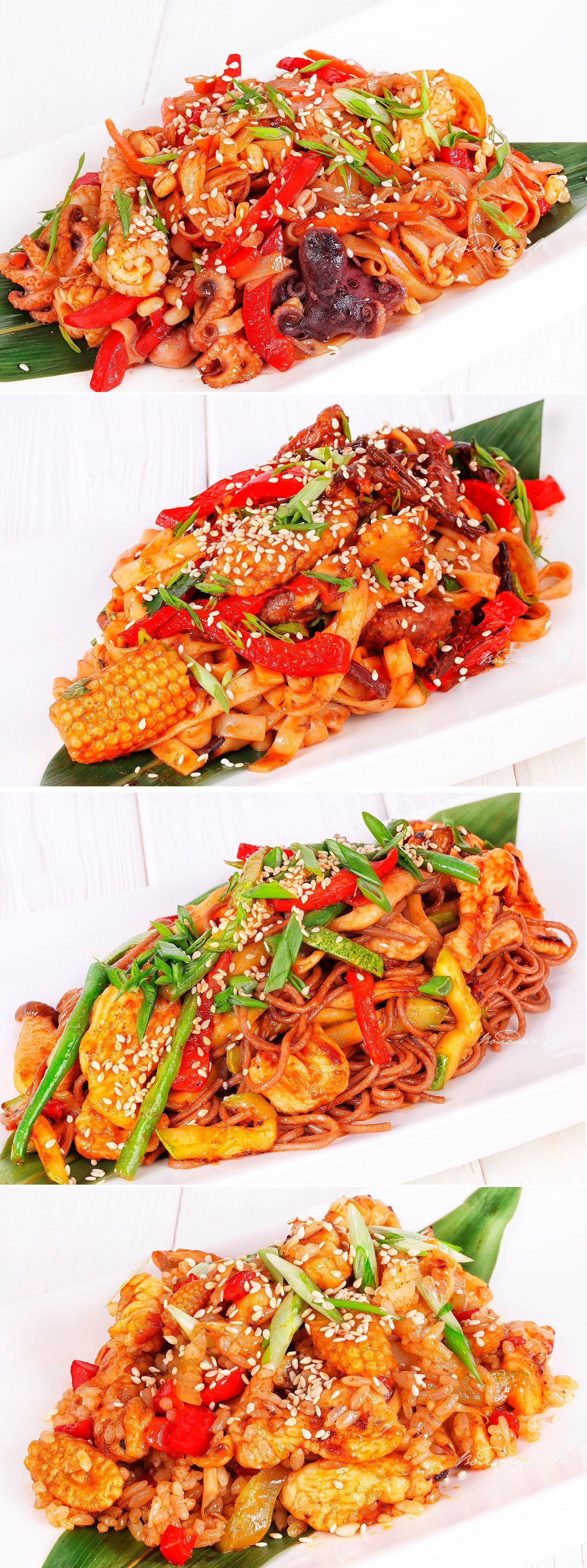 Ассорти из салатов с овощами,курицей и морепродуктов ...