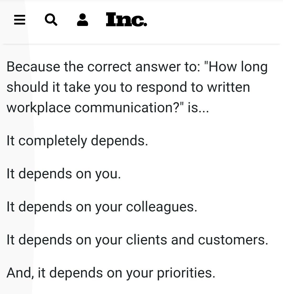 How long should it take to respond to an email exactly