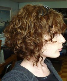 Curly Hair A Line Bob With Bangs