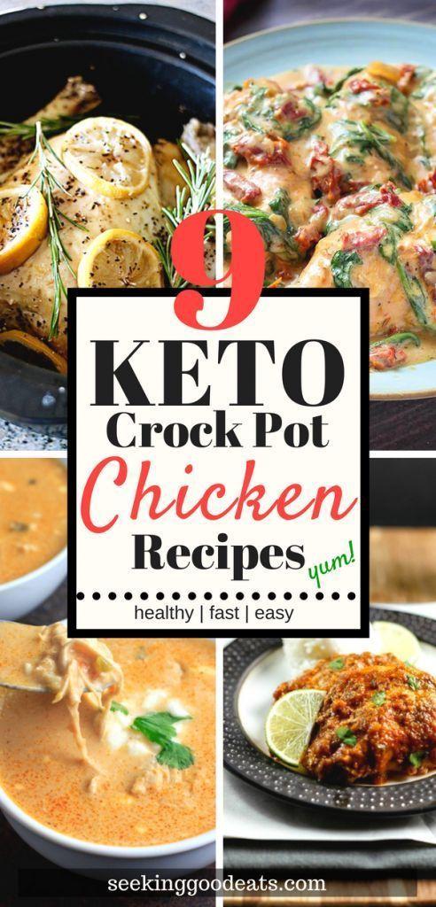 Easy Keto Low Carb Slow Cooker Chicken Recipes #healthycrockpotchickenrecipes