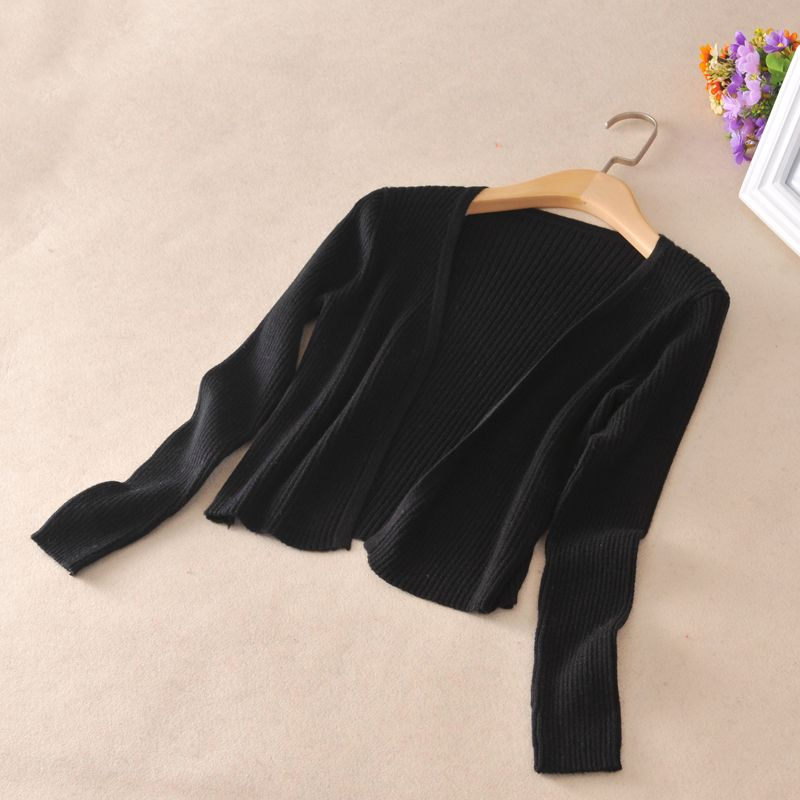 Spring High quality Women Short Sweater Cardigan Long Sleeve V ...